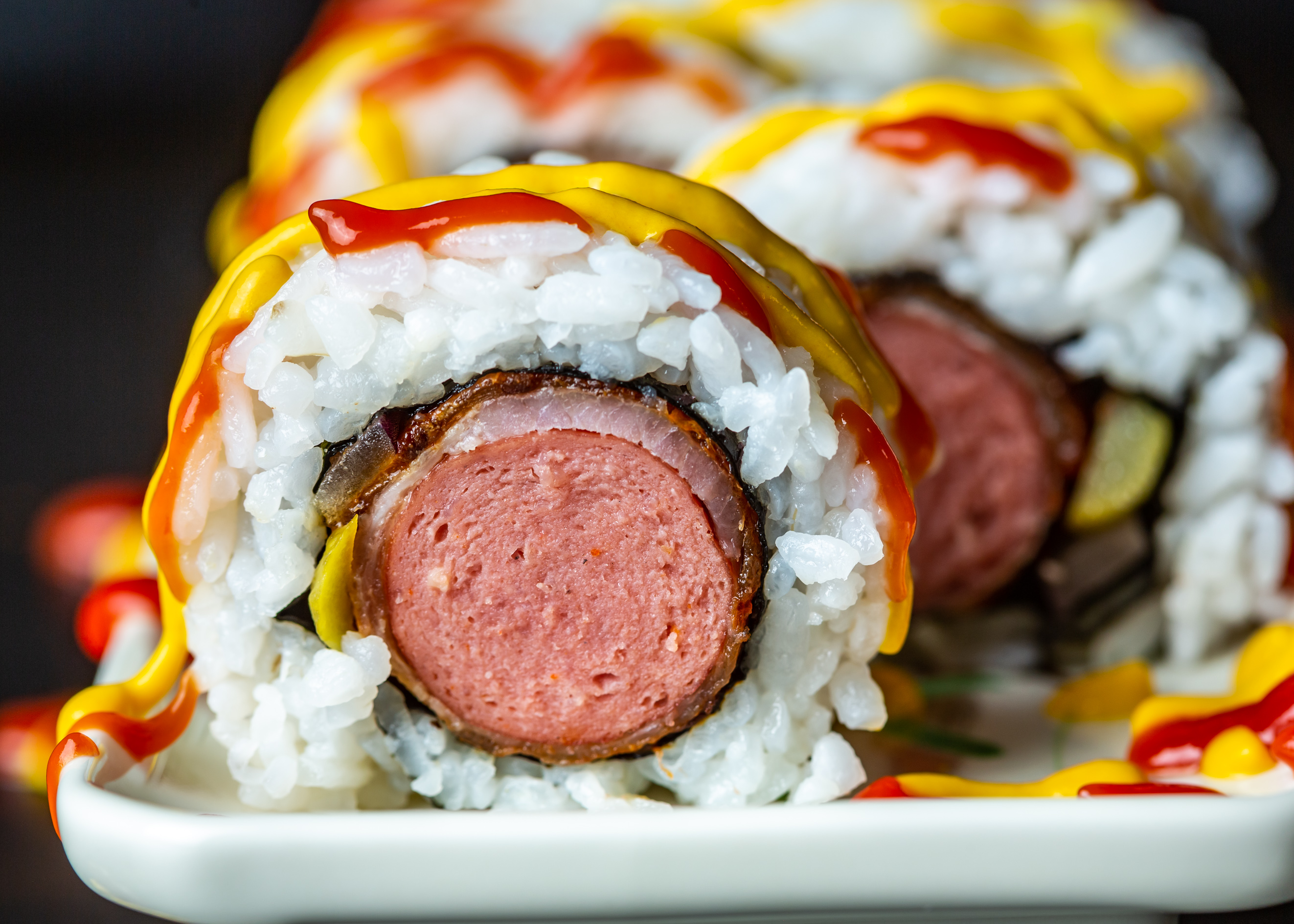 bacon-wrapped hot dog sushi